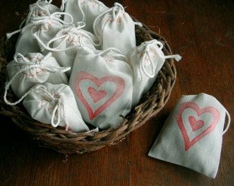 "Shower Gift BAG Lavender Filled 35 Heart Stamped Fragrant Filled 3 x 4"" Natural Cotton Muslin Drawstring Bags Shower, Gift. Wedding toss"
