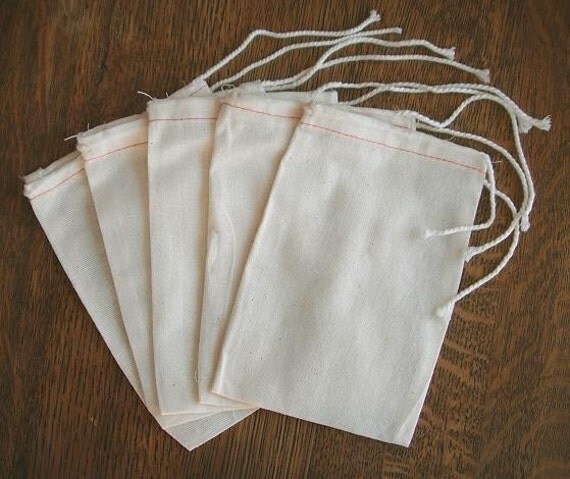 Muslin Drawstring Bags 100 4x6 Cotton for sachets potpourri