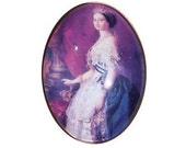 40x30 Glass cameo queen cameo princess cameo with crown 40x30mm  glass cabochon 181x