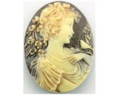 40x30 cameo or cabochon gothic jewelry victorian vintage style Antiqued Woman lady Bird cameo brown resin cameo loose unset 1 pc cab   344x