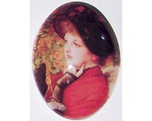 40x30 photo Glass cameo red Cabochon jewelry findings lady in red cameo jewelry supply  225x