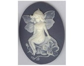 40x30 cameo (over 100 designs) blue fairy cameo Resin cabochon nymph woodland creature jewelry findings cameo jewelry supply  981q