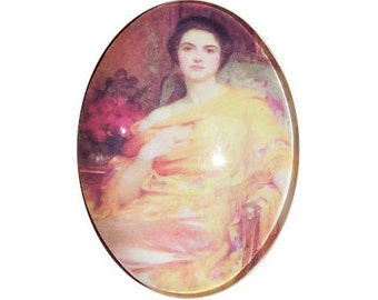 40x30 Glass cabochon cameo victorian lady cameo in yellow cameo photo glass cabochons under glass jewelry findings 177x