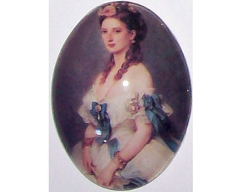 40x30 Glass cameo Victorian Lady cameo queen throne jewelry Blue Ribbons photo glass cabochon jewelry findings 40x30mm  228x