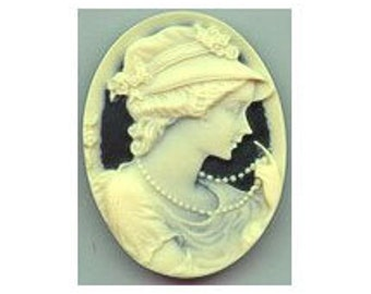 40x30 cameo (over 100 designs) cabochon woman cameo Lady Pearls Resin unset Cameo Black and Ivory jewelry finding cameo jewelry supply 606r