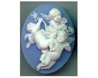 40x30mm cherub cameo blue&white resin item  619r