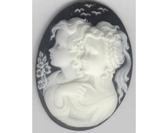 two girls black resin cameo Black cabochon two sisters cameo 40x30mm cameo jewelry supply ( the 2 girls are more beige )  813q