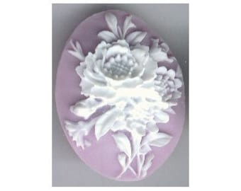 40x30 purple flower bouquet resin cameo or cabochon loose unset stone jewelry findings from cameo jewelry supply  32a