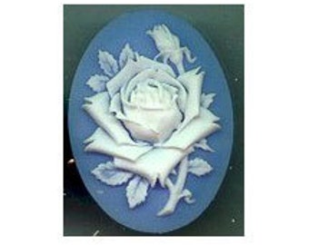 Blue rose cameo  resin Cameo Blue and White flower cabochon 40x30mm item 615r