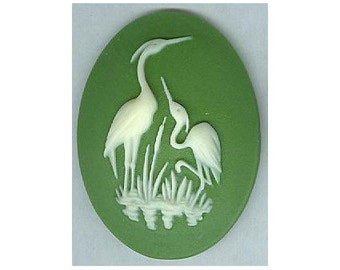 30x40 crane cabochon heron stork resin cameo bird cameo water fowl green ivory loose unset embellishment or bauble diy wildlife jewelry 902q