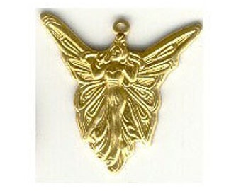Charm Sale 12pc lot fairy charm brass angel stamping fairy pendant focal point jewelry findings earring finding made in the USA  g07414