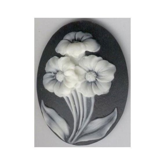 garden flowers black flower resin  cameo Black ivory cabochon 40x30mm loose plastic stone diy chunky indie jewelry part craft supply  817q