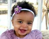 CLEARANCE - Baby Headband - Purple Flower with Pearl - Flower Headband