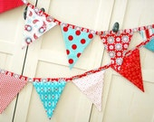 BUNTING, Fabric Flag Banner, Pennant Nursery Decor, Photo Prop - Red, Aqua, White - 9 Feet 10 flags