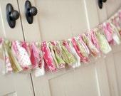 Shabby Torn Fabric Rag Garland Banner Bunting, Nursery Decor, Photo Prop - Pink, Green, White - 6 Feet