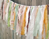 Vintage Inspired Shabby Torn Fabric Rag Garland Banner Bunting, Wedding Party Decor, Photo Prop - 6 Feet