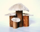 A very Fairy Castle... Vintage Handmade coral mushroom fairy home with solid wood base