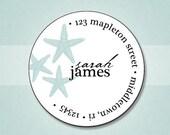 Beach Personalized Return Address Stickers - Coastal Starfish - Set of 70 Matte Round Labels