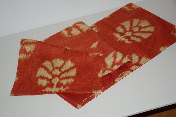 Modern Ikat print Table runner in Burned Orange, 13x62 inches.