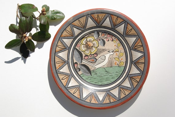 1970's  Vintage Mexican Pottery Plate - Tonala Mexico Style.