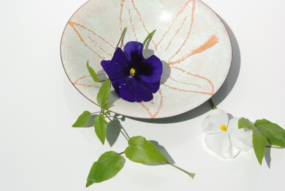1970's Scandinavian Design Copper Enamel Plate.