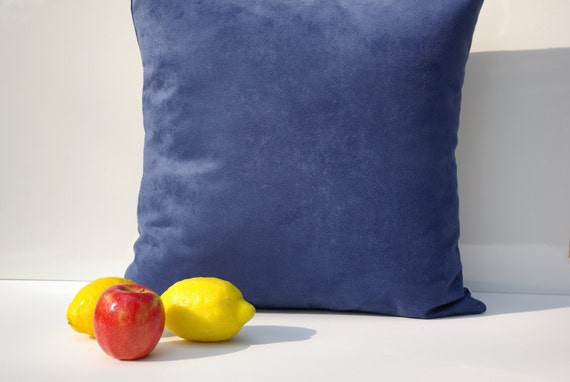 "Blue Micro Suede Pillow Cover  18"" x 18"" - Designer Home Decor Fabric-Throw Pillow-Lumbar Pillow-Couch Pillow-Living Room"