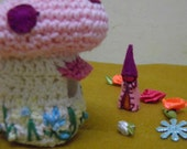 Toadstool Cottage, Mushroom Cottage and a Gnome, Pink, White, Dwarf, Fantasy