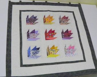 Quilt, 75 x 75 cm,Tulip Flower Wall quilt