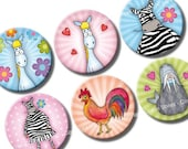 Funny Sweet Animals 1 inch circles Digital Collage Sheet for pebble magnets, cards,  pendants, bottle caps, badges, buttons, cupcake toppers