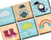 1x1 inch squares Spring Rainy Day Digital Collage Sheet. Printable umbrella, rainbow, clouds, raindrops, wellingtons inchies images