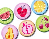 Summer Fruits 1 inch circles. Digital bottle caps images. Printables for jewelry, magnets, scrapbooking. 1.313 inch size rounds available