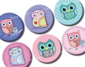 Owls 2 inch circles printable images. Digital graphics for magnets, hang tags, party decors, cupcake toppers. Digital download printables