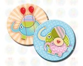 Cute Elephants 1 inch circles Collage Sheet. Printable Images for kids jewelry, magnets, bottle caps, badges. Summer colors digital download