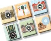 Scrabble tile size images Vintage Photo Cameras 0.75x0.83 inch. Two 4x6'' Collage Sheets for pendants. Digital retro images download