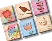 Scrabble tile images Colorful Flower Garden 0.75x0.83 inch squares. Birds, flowers, wheat, grass nature vintage graphics. Digital download