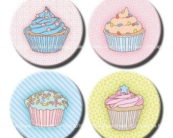 Cupcakes 2.5 inch circles Digital Collage Sheet for pocket mirrors, party decors, scrapbook. Big rounds printables. Digital download.
