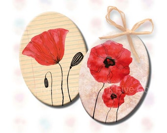 18x25 mm ovals Field of Poppy Flowers. Digital collage sheet for cabochons, pendants, jewelry, cameos. Printable 18 x 25 mm oval download.