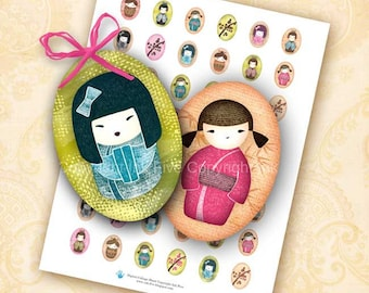 Kokeshi Dolls 18x25 mm ovals. Digital collage sheet for cabochons, pendants, jewelry, cameos. Japanese dolls printable download