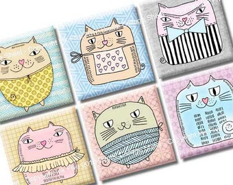 Potato Cats 1x1 inch squares printable Digital Collage Sheet for magnets, embelishments, scrapbooks, invites, tags, greeting cards, decors