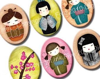 30x40 mm ovals Kokeshi Dolls. Japanese printable oval images for digital download. 30 x 40 mm collage sheet for cabochons, cameos, pendants.