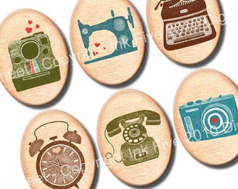 30x40 mm ovals I Heart Machines. Images for cabochons, cameos, pendants. Vintage style digital download. 30x40 mm retro collage sheet