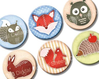 Forest Friends 1 inch circles Digital Collage Sheet for round pendants, bottlecaps. Printable fox, squirrel, owl.  Digital woodland download