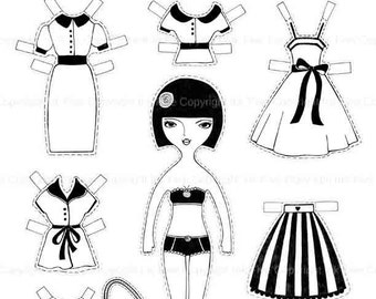Coloring page digital paper doll Maya - printable paper doll. Print your own coloring page. Cut out doll. Die cut doll black and white sheet