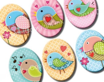 30x40 mm ovals Sweet Birds. Valentines Images for cabochons, cameos, pendants. Modern digital download. 30 x 40 mm cute collage sheet