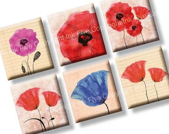 Poppy Flowers scrabble tile images 0.75x0.83 inch squares. Floral collage sheet for scrabble size pendants. Digital download. Printables