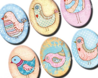 30x40 mm ovals Bird Party. Whimsical birds images for cabochons, cameos, pendants, embellishments. Printable oval digital sheet for download
