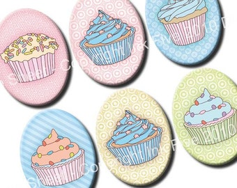 30x40 mm ovals Cupcakes. Sweets Images for cabochons, cameos, pendants. Modern digital download. 30 x 40 mm cute collage sheet