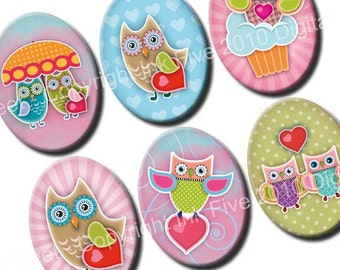 30x40 mm ovals Owls in Love. Images for cabochons, cameos, pendants. Valentines modern digital download. 30x40 mm mod collage sheet
