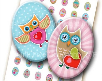 Owls in Love 18x25 mm ovals. Digital collage sheet for 18 x 25 mm valentine cabochons, pendants. Owls cartoon mod digital download images