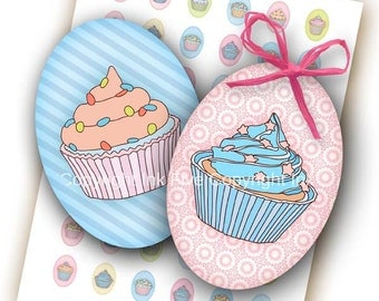 Cupcakes 18x25 mm ovals. Digital collage sheet for 18 x 25 mm for cabochons, pendants, cameos. Sweets cakes digital download images